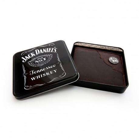 Portafolio classico pelle marrone scuro con borchia JD