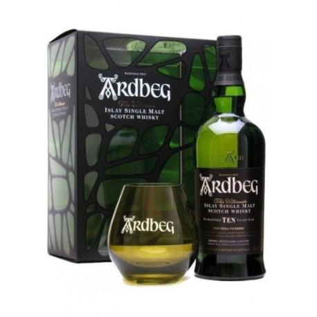 Confezione Ardbeg 10 Islay Single Malt con bicchiere